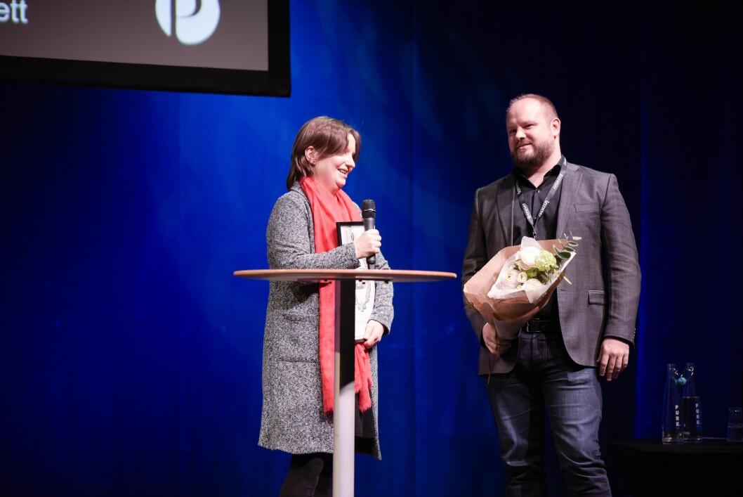Irene Ramm og Markus Iestra mottok Flaviaprisen på Skup fredag.