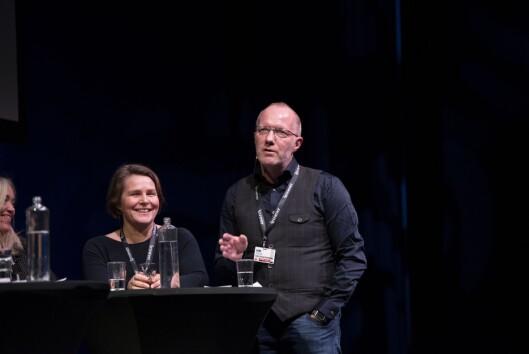 Hege Ulstein i Dagsavisen under debatt og generalsekretær i Norsk Redaktørforening, Arne Jensen, om VG-saka på Skup-konferansen