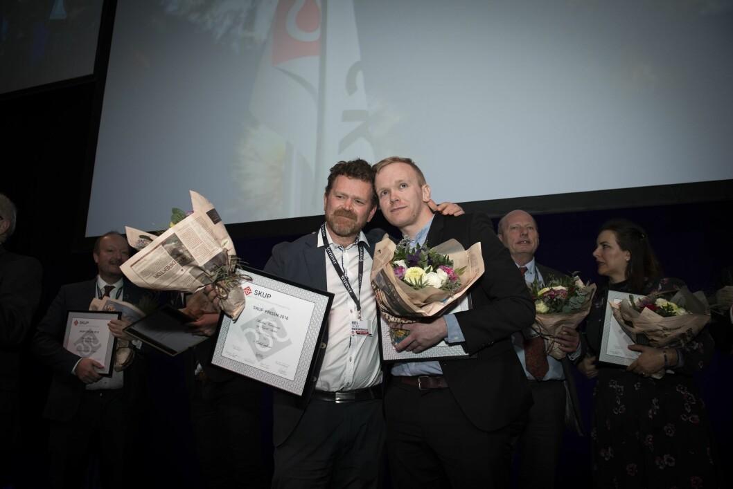 DN-journalistane Kjetil Sæter og Markus Tobiassen då dei vann SKUP-prisen i 2019.