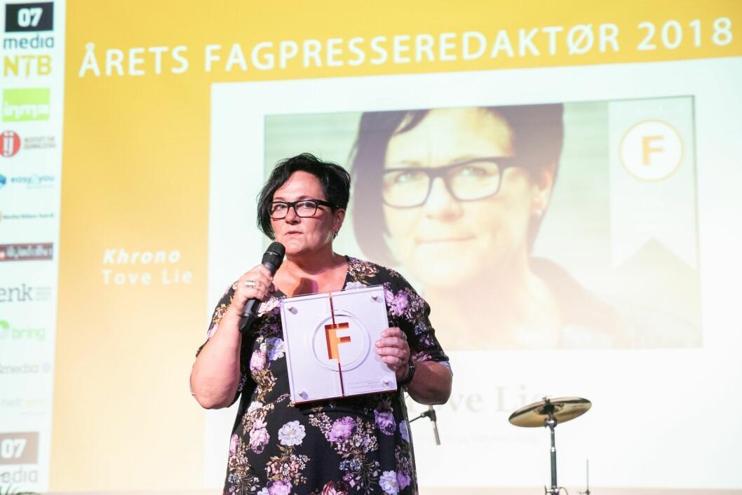 Redaktør Tove Lie i Khrono. Her fra da hun ble kåret til «Årets fagpresseredaktør» i 2018.