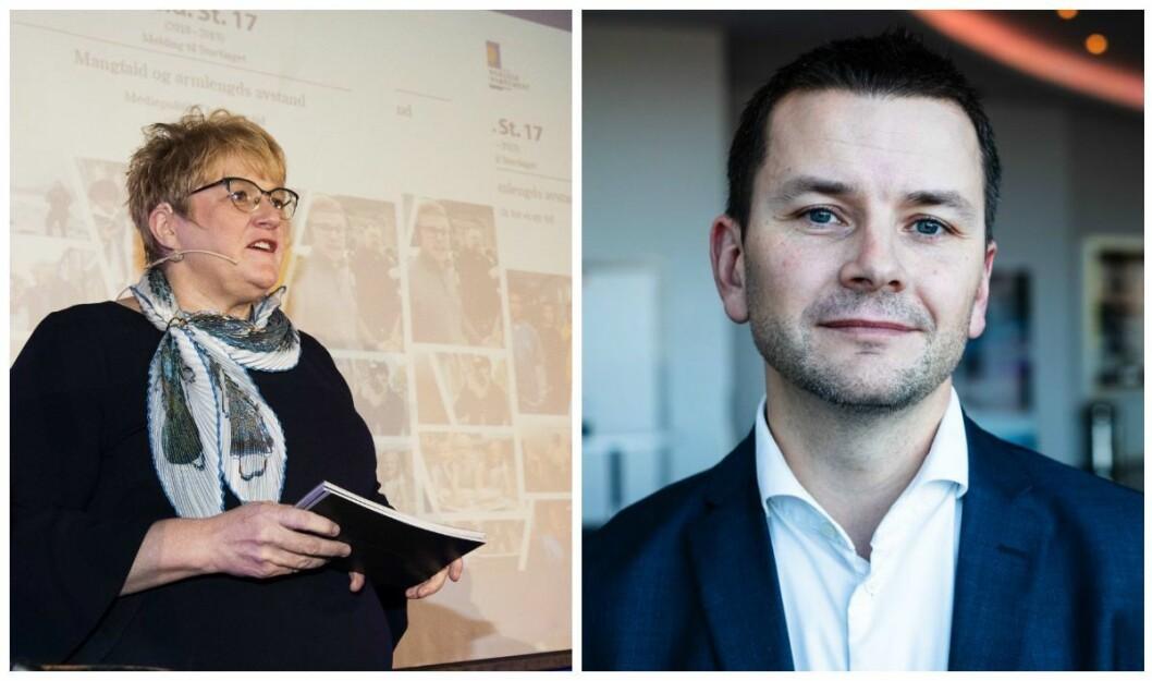 Kultur- og likestillingsminister Trine Skei Grande (V) og sjefredaktør Øyulf Hjertenes i Bergens Tidende.