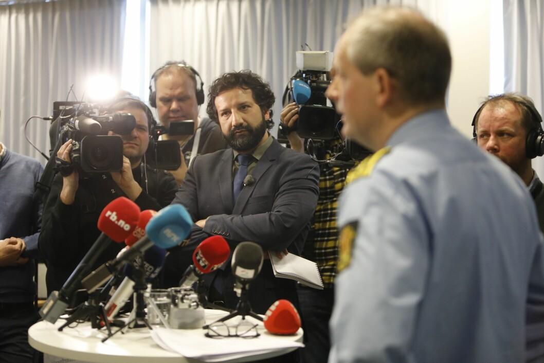 Norske journalister hadde en lønnsvekst på 2,6 prosent ifjor. Her fra pressekonferanse om vinterens store forvinningssak. Foto: Ole Berg-Rusten / NTB scanpix