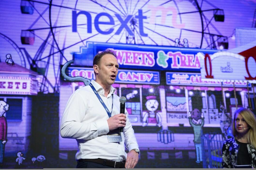 Konsernsjef Martin Bentzen i GroupM på scenen under konferansen NextM.