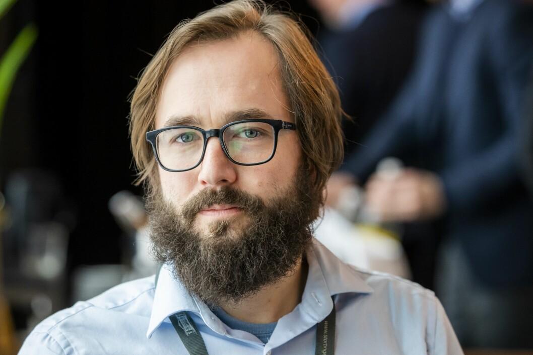 Harald S. Klungtveit er redaktør i Filter Nyheter.Her på en pressekonferanse i regi av PST på hotellet The Thief på Tjuvholmen i Oslo.