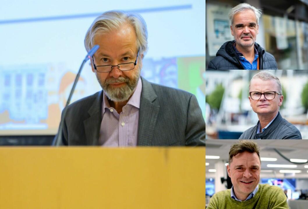 Til venstre er styreleiar Ole Jacob Sunde i Schibsted. Til høgre er redaktørane i Fædrelandsvennen, Stavanger Aftenblad og Aftenposten: Lars Helle, Eivind Ljøstad og Espen Egil Hansen.