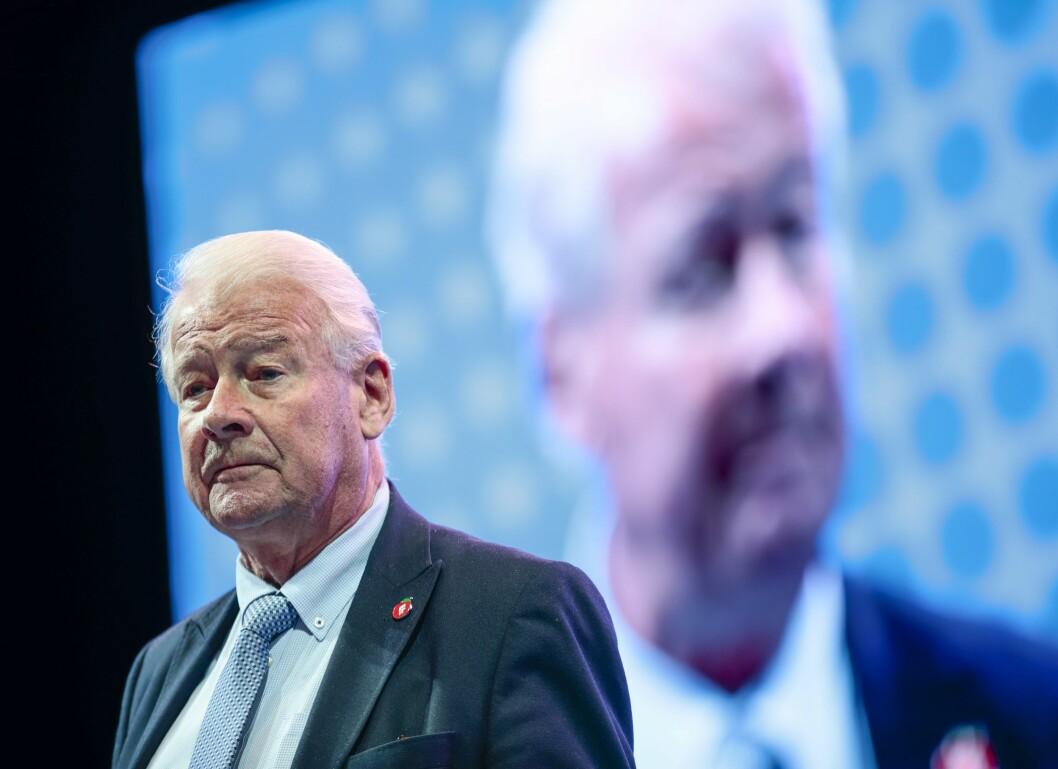 Carl I. Hagen på Frps landsmøte 2019 på Gardermoen søndag.