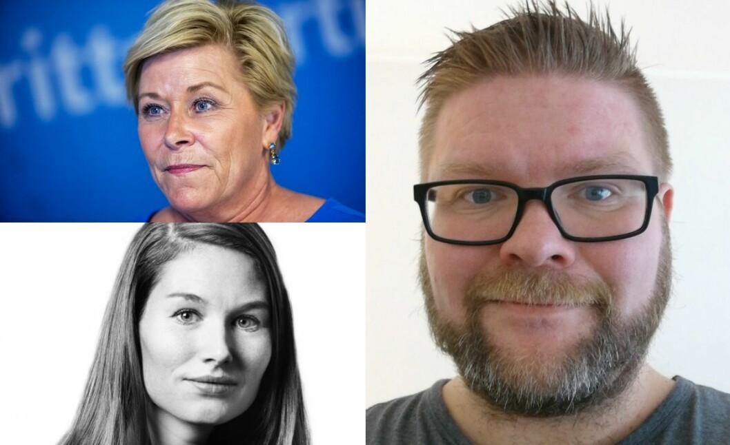 Finansminister Siv Jensen, BT-kommentator Eirin Eikefjord og skribent Magnus Bernhardsen.