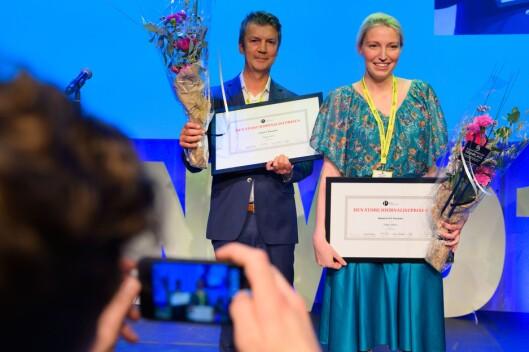 Frank Haugsbø, Mona Grivi Normann og Maria Mikkelsen (ikkje på biletet) i VG fekk Den store journalistprisen for Tolga-saka.