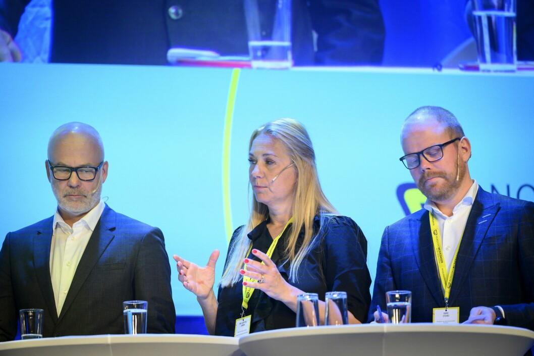 Medietoppmøtet under Nordiske Mediedager: NRK-sjef Thor Gjermund Eriksen, Tine Austvoll Jensen  i Discovery og Gard Steiro i VG.