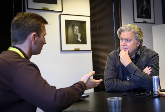 Steve Bannon i intervju med Medier24 under Nordiske Mediedager i Bergen.