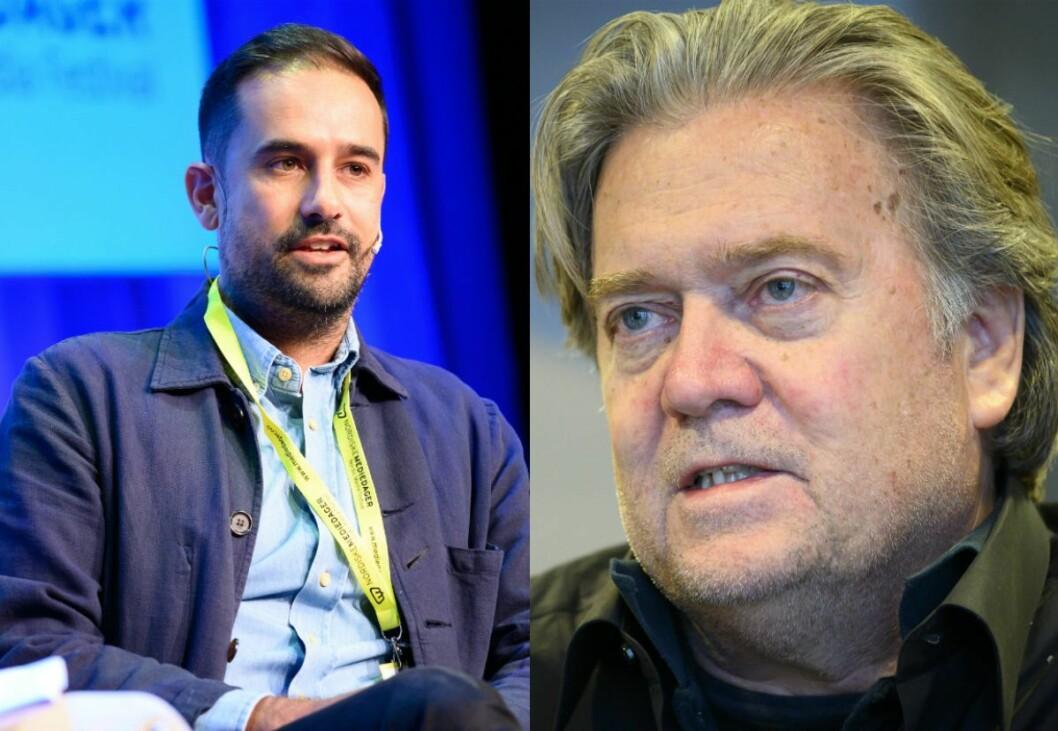 The Guardian-journalist Paul Lewis og Steve Bannon.