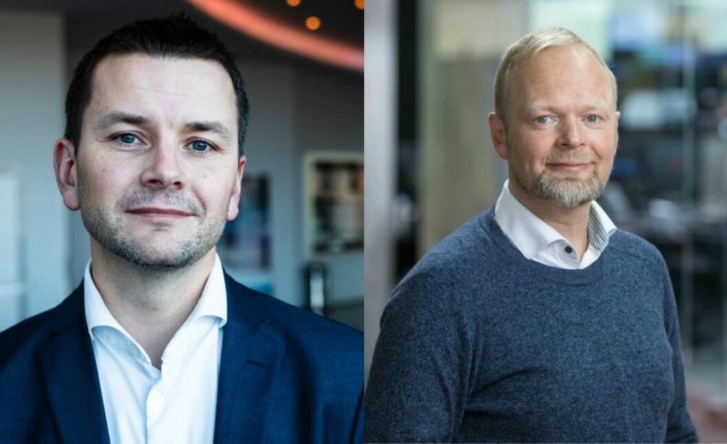 Vegard Jansen Hagen, sportssjef i TV 2, og Øyulf Hjertenes, sjefredaktør i Bergens Tidende.