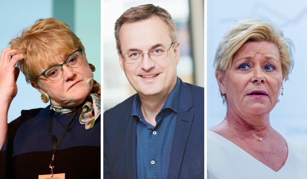 Kulturminister Trine Skei Grande, Per Brikt Olsen i Fagpressen og Finansminister Siv Jensen