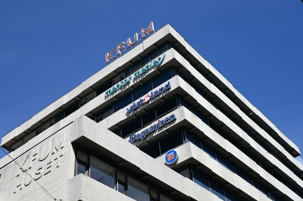 Dagsavisen fasade i Oslo sentrum.