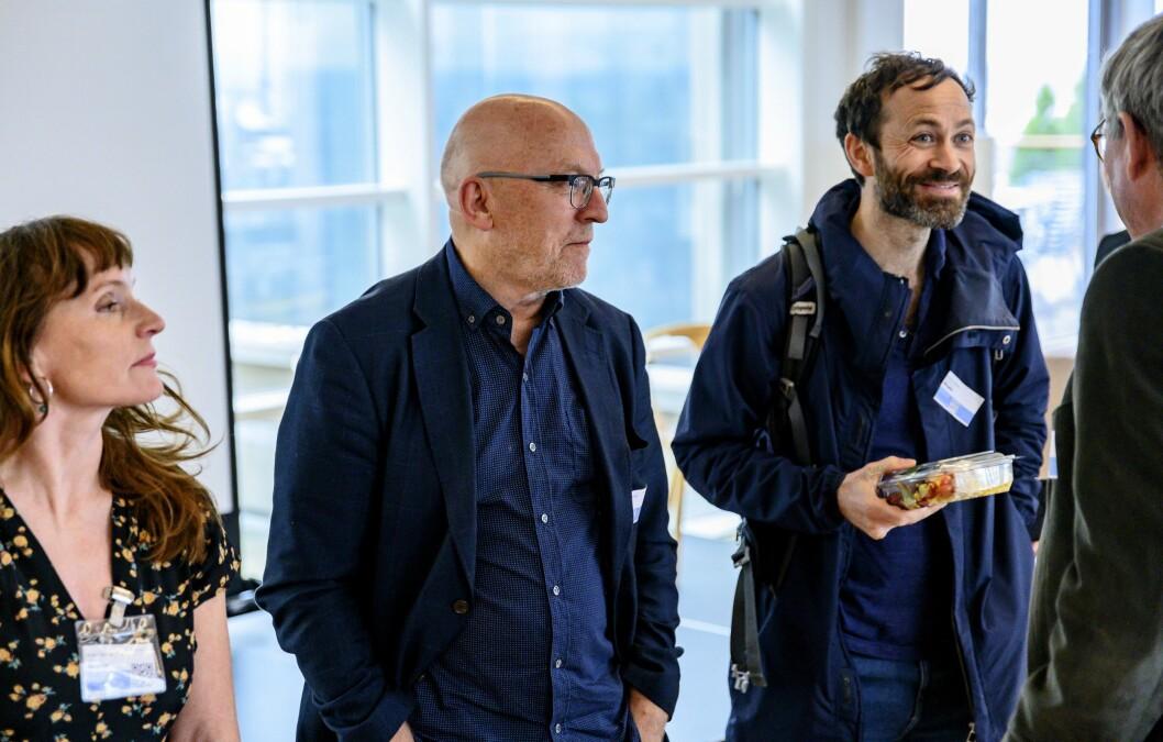 Omdal-utvalget fikk innspill på mandag fra flere i pressen. Fra venstre: Anki Gerhardsen, Sven Egil Omdal og Simen Sætre.