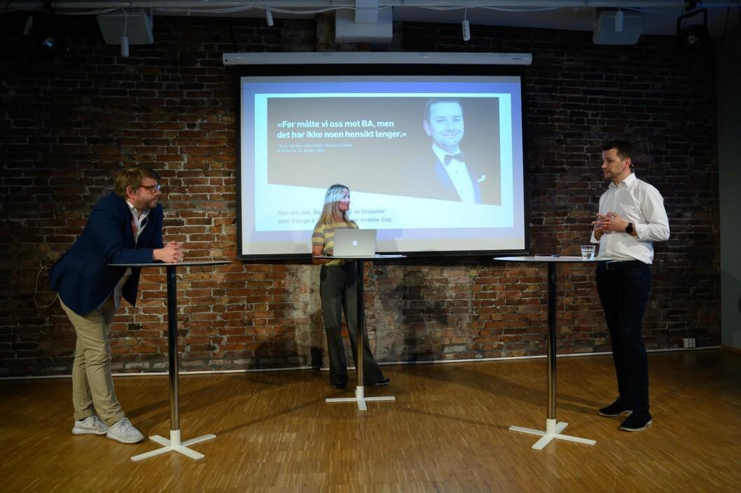 Sjefredaktør i Bergensavisen, Sigvald Sveinbjørnsson, debattleiar Hilde Sandvik og sjefredaktør i Bergens Tidende, Øyulf Hjertenes.