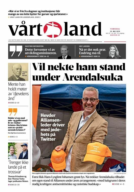 Forsiden av Vårt Land 23. mai 2019.