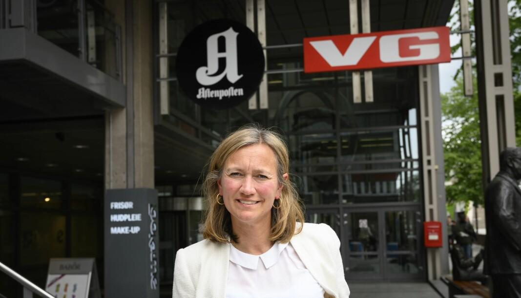 Siv Juvik Tveitnes, konserndirektør for Schibsted Media, har lite konkret å si om den nye podkast-satsingen.