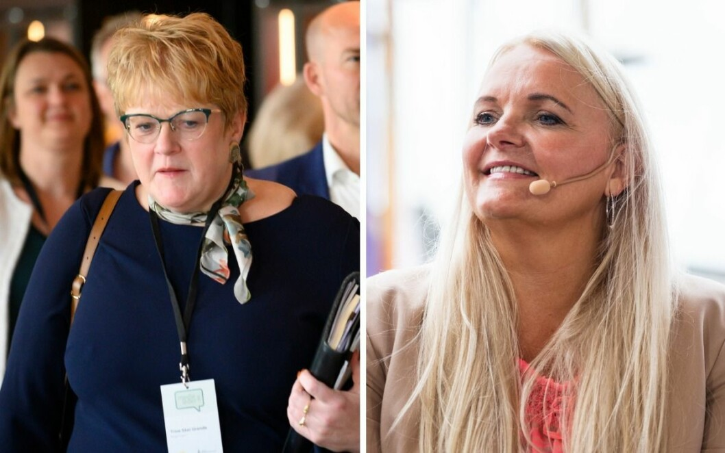 Trine Skei Grande blir utfordret av Senterpartiets Åslaug Sem-jacobsen på hvordan hun vil styrke tilliten til redaktørstyrte medier.