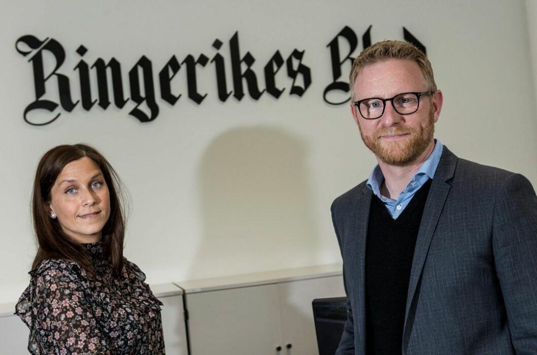 Redaktør Bjørn Harald Blaker gir seg i avisa. Her sammen med styreleder Kristina Fritsvold Nilsen.