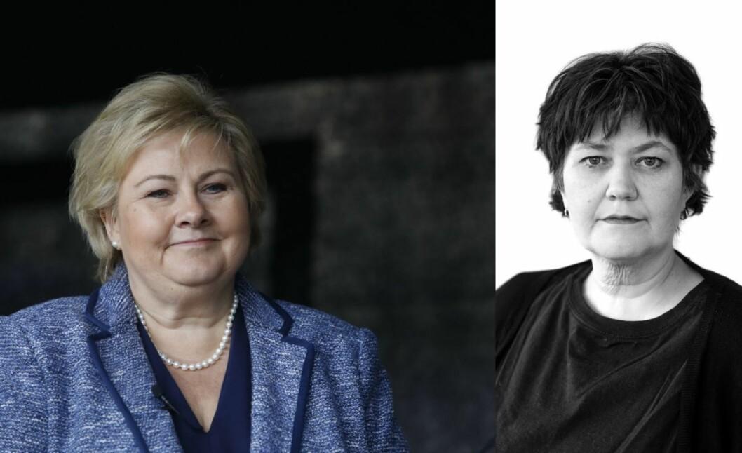 Statsminister Erna Solberg (H) og politisk redaktør i Vårt Land, Berit Aalborg.