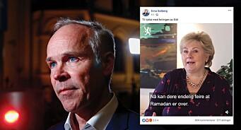 Erna Solberg ville gratulere muslimer - så tok det fyr i kommentarfeltet: -Synd