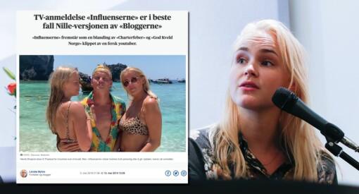 Linnéa Myhre slaktet TV-rivalen «Influenserne» i Aftenposten. Samtidig spilte hun inn «Bloggerne» for TV 2