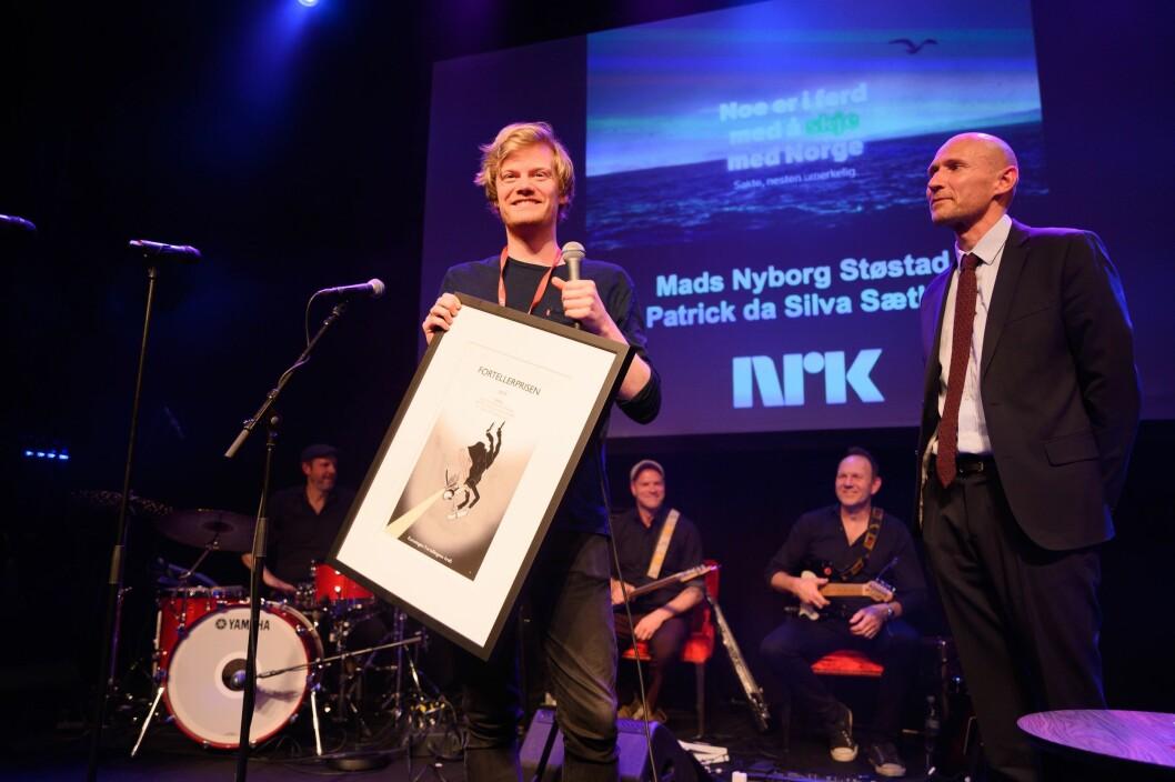 Mads Nyborg Støstad (bildet) og Patrick da Silva Sæther vant Fortellerprisen for «Jakten på klimaendringene»