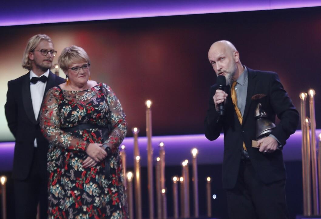 Kulturminister Trine Skei Grande delte ut Amandkomiteens Ærespris til Lars Saabye Christensen i Haugesund under prisutdelingen i 2018.Foto: Terje Bendiksby / NTB scanpix