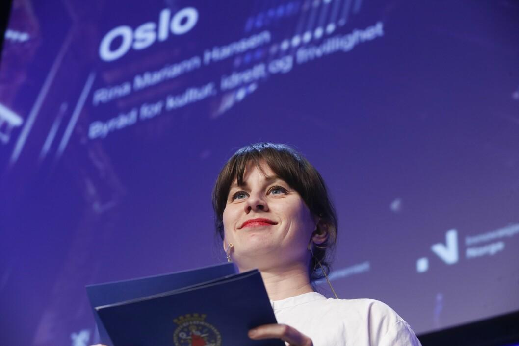 Byråd for kultur, idrett og frivillighet Rina Mariann Hansen presenterer Oslo  sitt bidrag  i forbindelse med konferansen Kreativ arena.