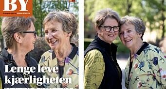 Det lesbiske kjæresteparet Anbjørg (70) og Sylvi (71) pryder forsiden av Kirkens Bymisjon-magasinet