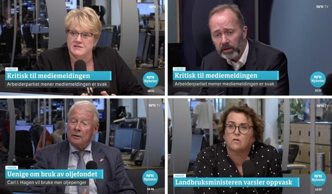 Trine Skei Grande i Venstre, Trond Giske i Arbeiderpartiet, Carl I. Hagen i Frp og Olaug Bollestad i KrF.