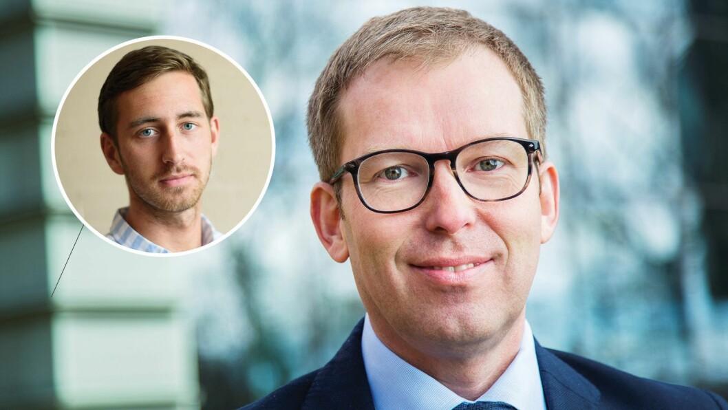 Innovasjon Norges Håkon Haugli og journalist i Medier24, Ole Alexander Saue (innfelt).