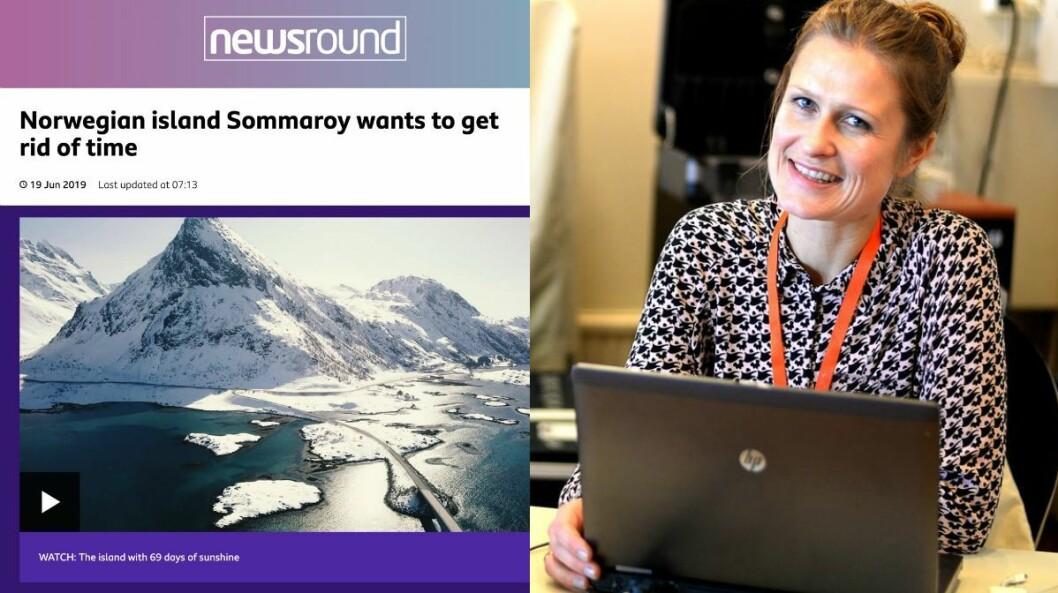 Til venstre: Faksimile av BBC-artikkel om Sommarøy. Til høyre: Jurist Kristine Foss i Norsk Presseforbund