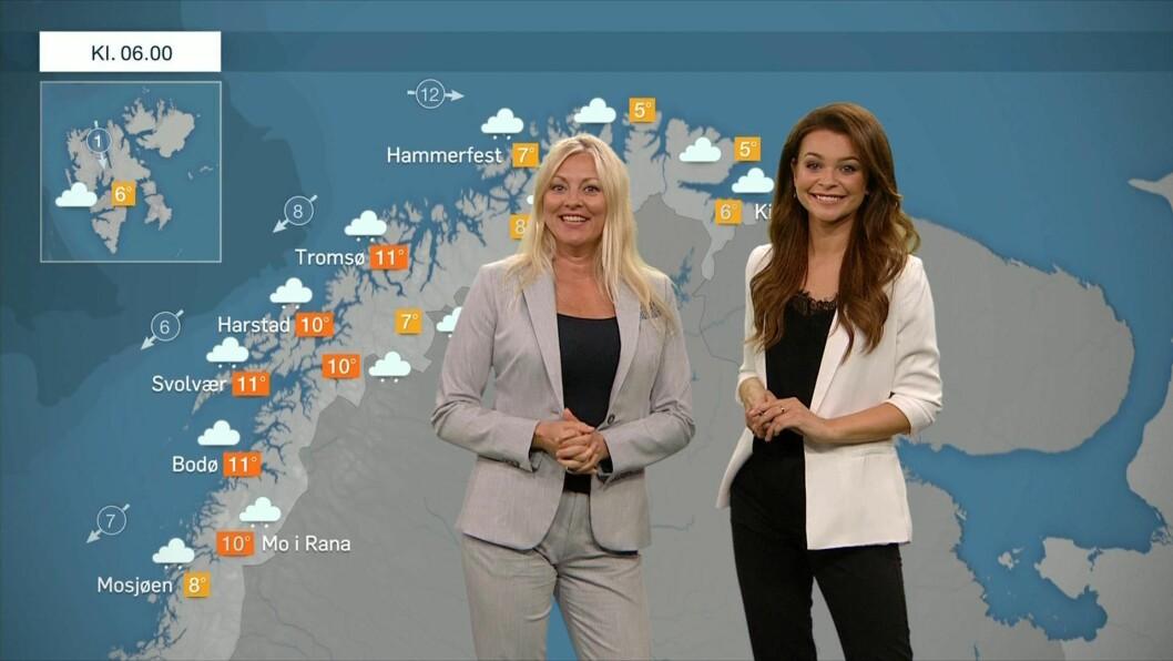 Værsjef Eli Kari Gjengedal og væranker Kristina Kvistad Hustad foran det nye TV 2-været.