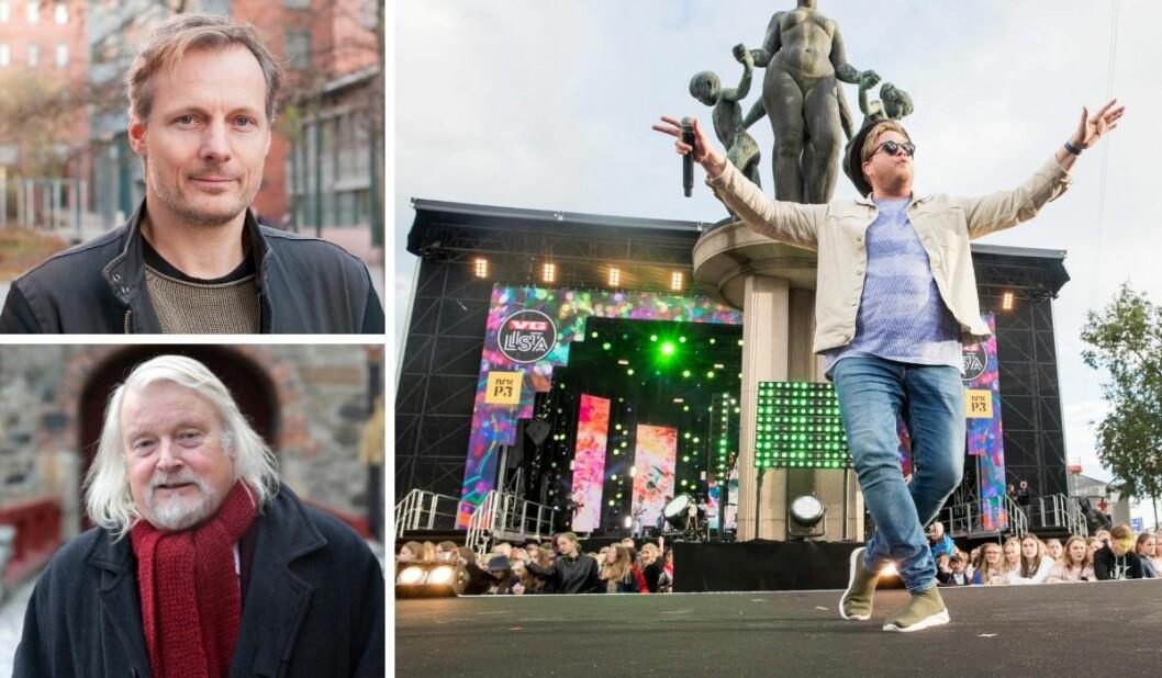 Steen Steensen ved OsloMet, Per Edgar Kokkvold og Freddy Kalas. Sistnevnte på scenen under VG-lista 2019. De to første kommer med kritikk av VGs dekning av arrangementet.