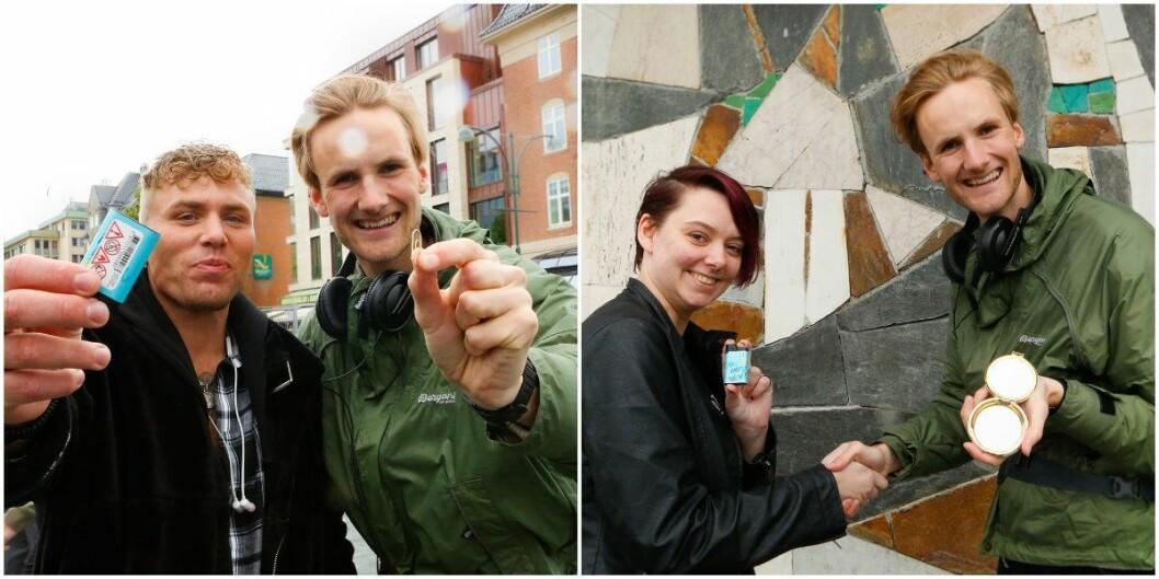 Peder fikk byttet bindersen mot en lighter, senere fikk han byttet lighteren mot et lommespeil. Foto: NRK.