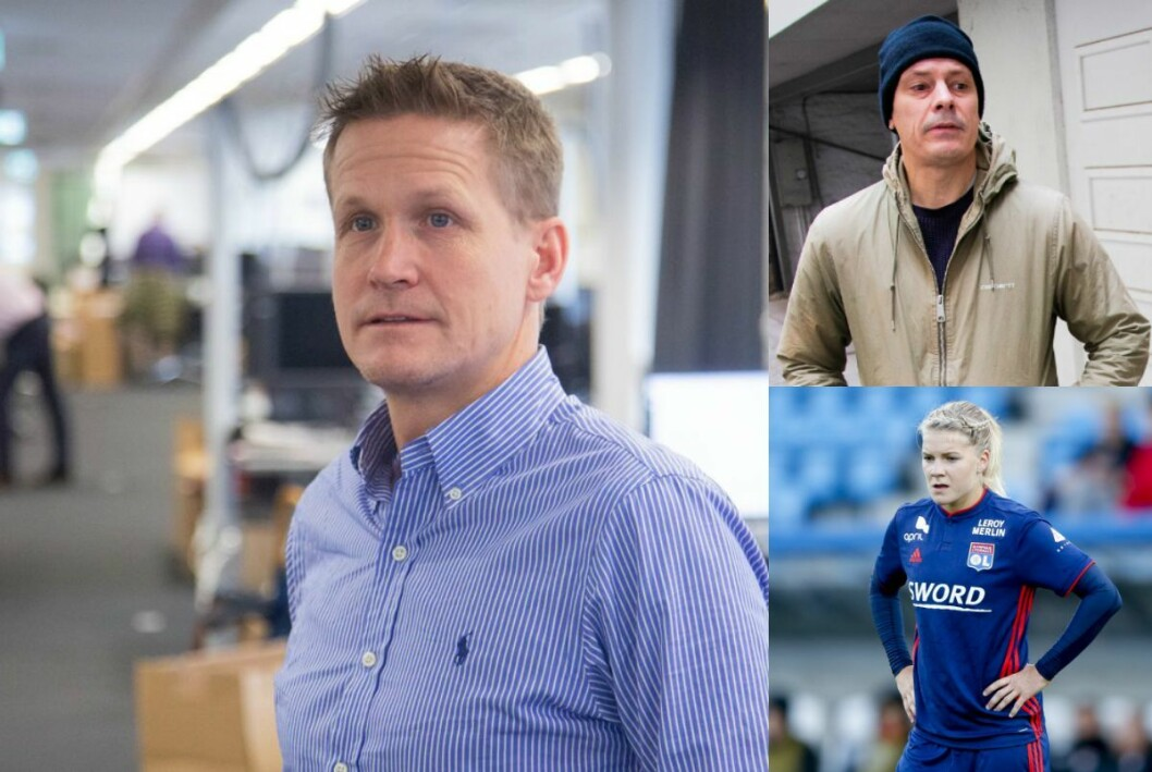 VGs sportskommentator Leif Welhaven, Josimar-redaktør Håvard Melnæs og Lyon-spiller Ada Hegerberg.