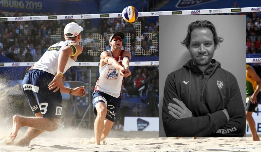 Christian Sørum (t.h.) og Anders Mol spilte seg frem til bronse i VM i sandvolleyball, noe som ble formidlet på TV 2s kanaler av markedssjefen i Norges Volleyballforbund Iver Horrem (innfelt).