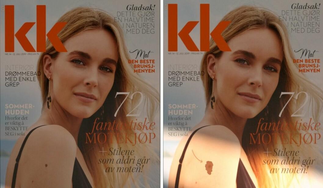 Ser du forskjellen? Til venstre ser du bladet før det har vært i sola, og til høyre ser du bladet etter at det har ligget en kort stund i sola.