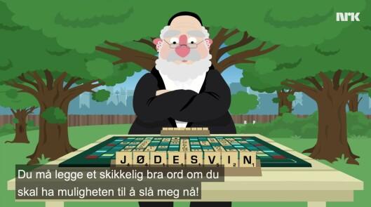 Skjermdump fra sketsjen hos NRK Satiriks.