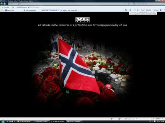 Skjermdump av forsiden på VG i anledning ett minutts stillhet i Norge mandag 25.7 kl 1200. Foto: Per Løchen / Scanpix