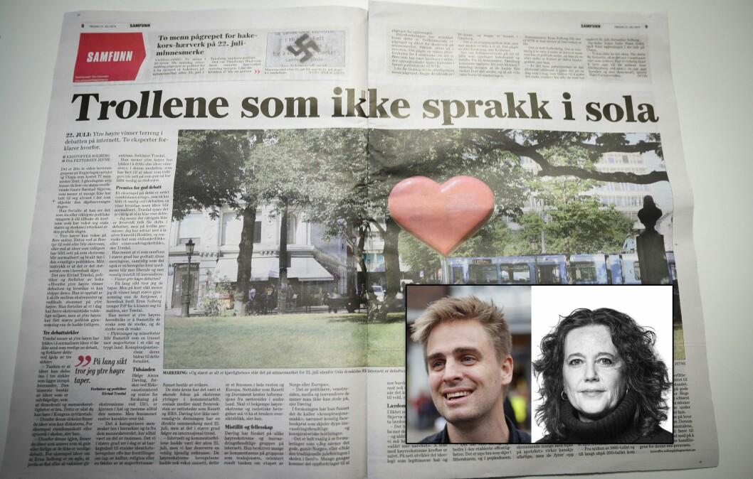 Sosiolog og samfunnsdebattant Kjetil Rolness reagerer på dette oppslaget i Dagsavisen. Innfelt: Eivind Trædal og Cora Alexa Døving