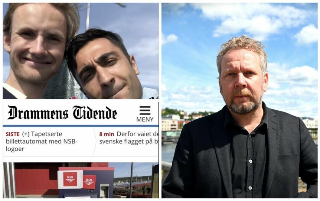 Reporterne Amir Horori og Peder Haugfos i NRK P3 og nyhetsredaktør Espen Sandli i Drammens Tidende. Foto: Skjermdump fra Instagram og Anne Marthe Lilleby.