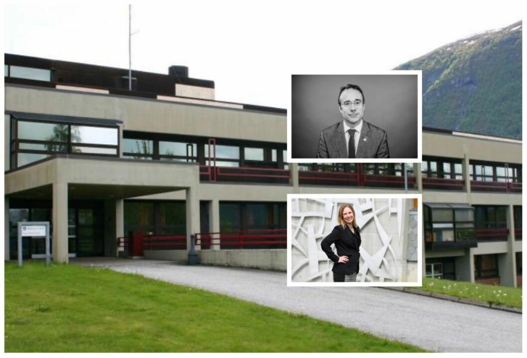 Høgskulen i Volda - innfelt: rektor Johann Roppen og dekan Audhild Gregoriusdotter Rotevatn.
