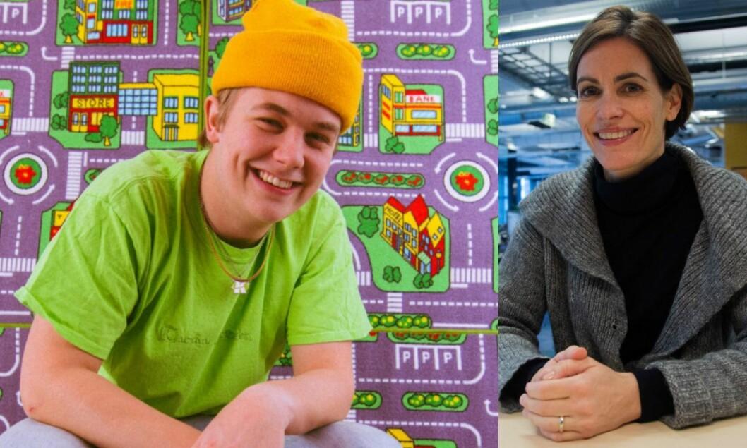 Artist Kjartan Lauritzen og distriktsredaktør Dyveke Buanes i NRK Hordaland.