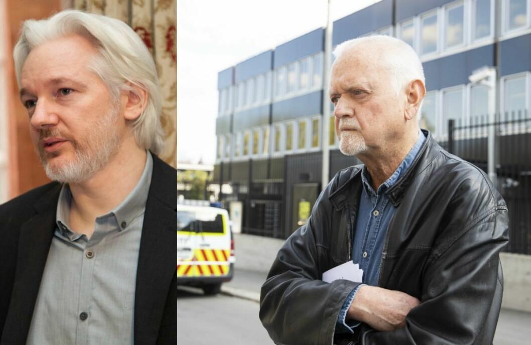 Til venstre: Julian Assange. Til høgre: Rune Ottosen frå då han haldt apell under støttemarkering for Julian Assange  utenfor den britiske ambassaden i vår.