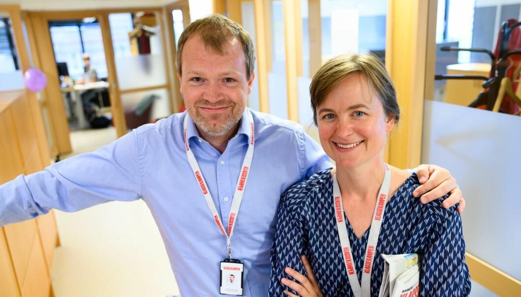 Administrerende direktør Christian Samuelsen (til venstre) og sjefredaktør Mari Skurdal i Klassekampen. For ordens skyld fotografert før koronapandemien.