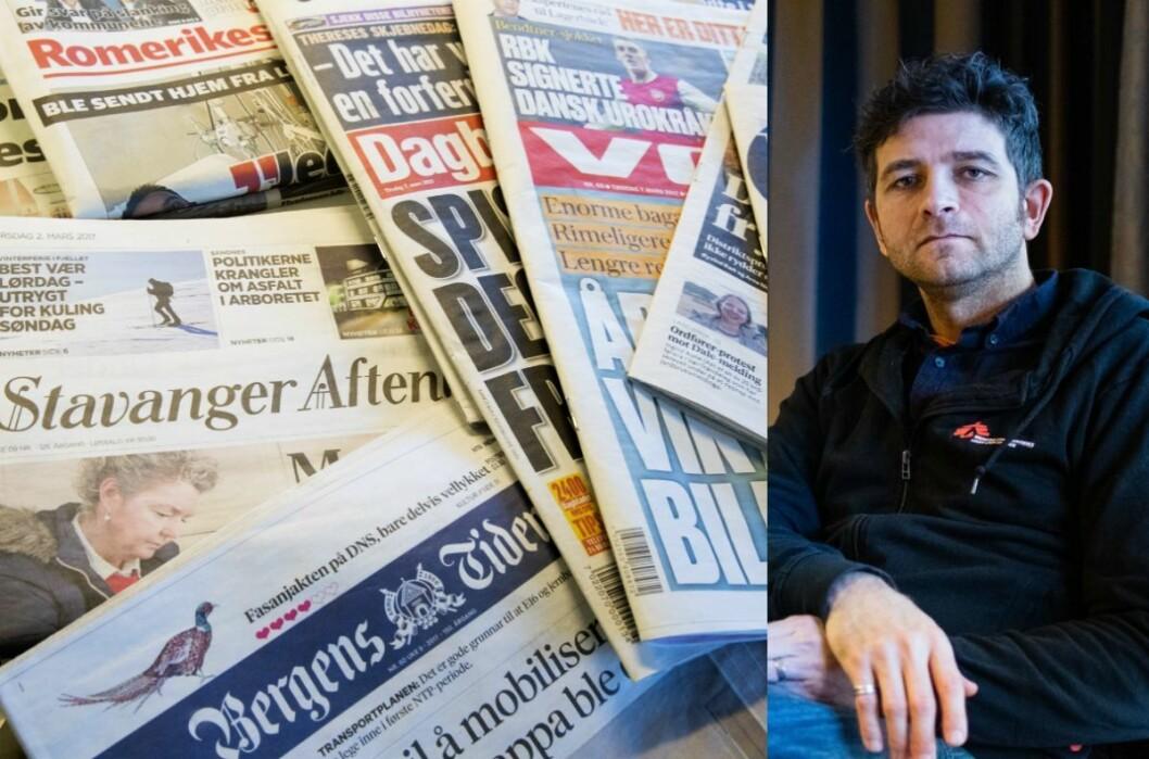 Aviser til venstre og Nils Mørk, kommunikasjonssjef i MDG, til høgre. Her frå tida som kommunikasjonssjef i Leger Uten Grenser.