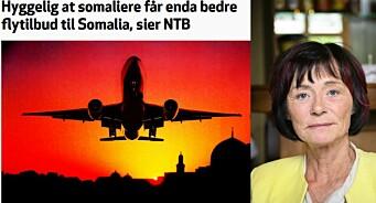 Nei, NTB skriver ikke at det er hyggelig at somaliere får enda bedre flytilbud